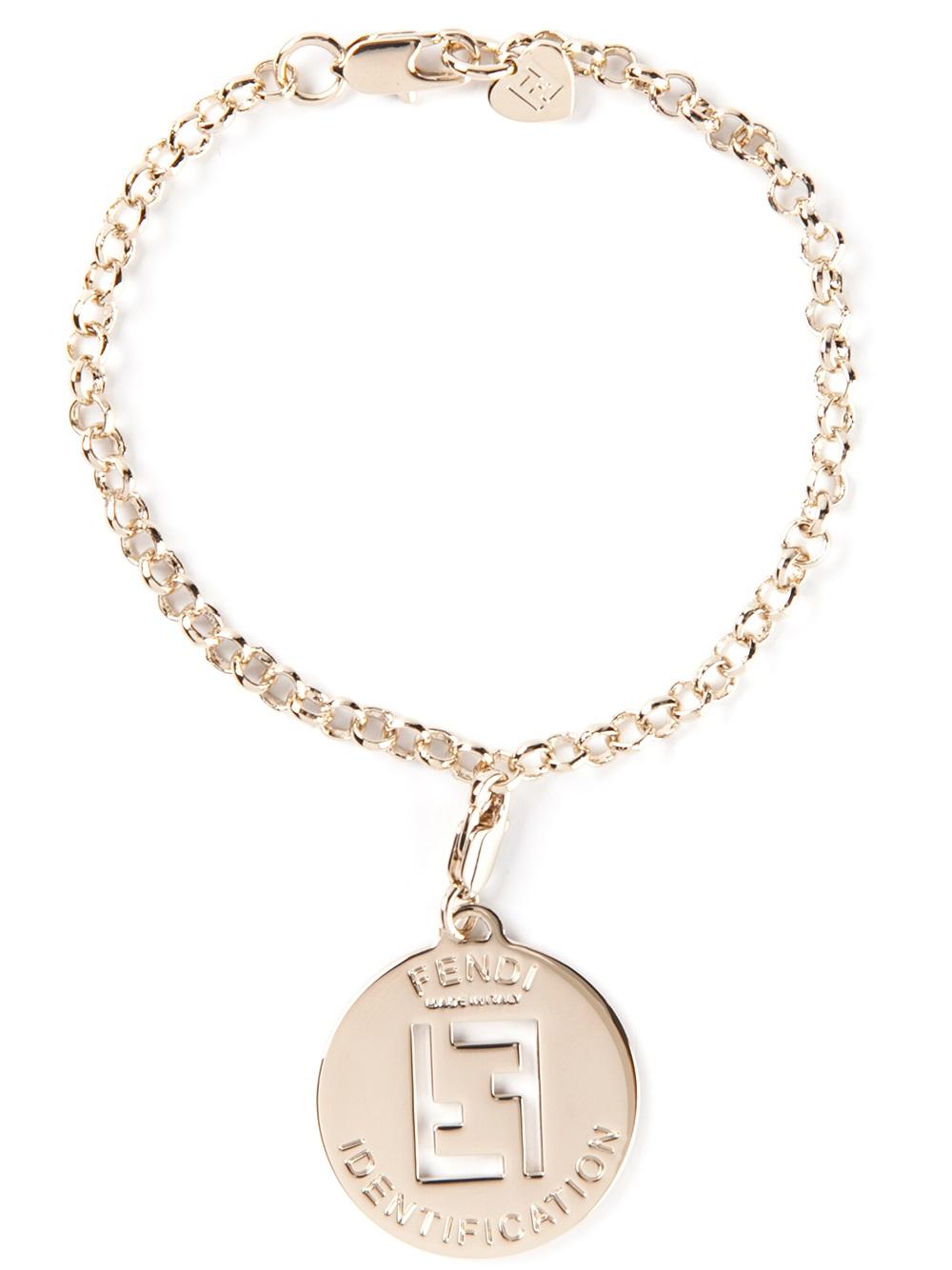 Fendi logo pendant necklace in metallic lyst gallery aloadofball Images