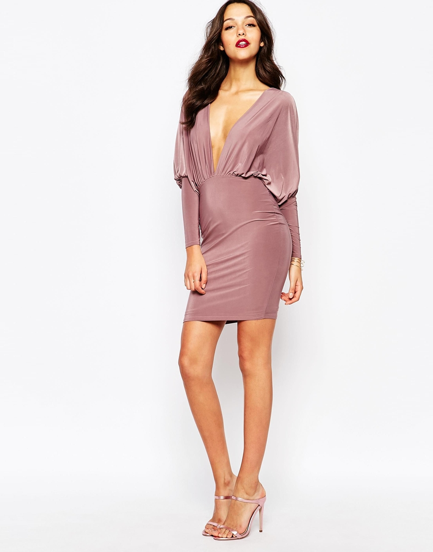 gallery in normal purple mauve dress front product lyst boohoo neck drapes clothing drape natural plunge midi