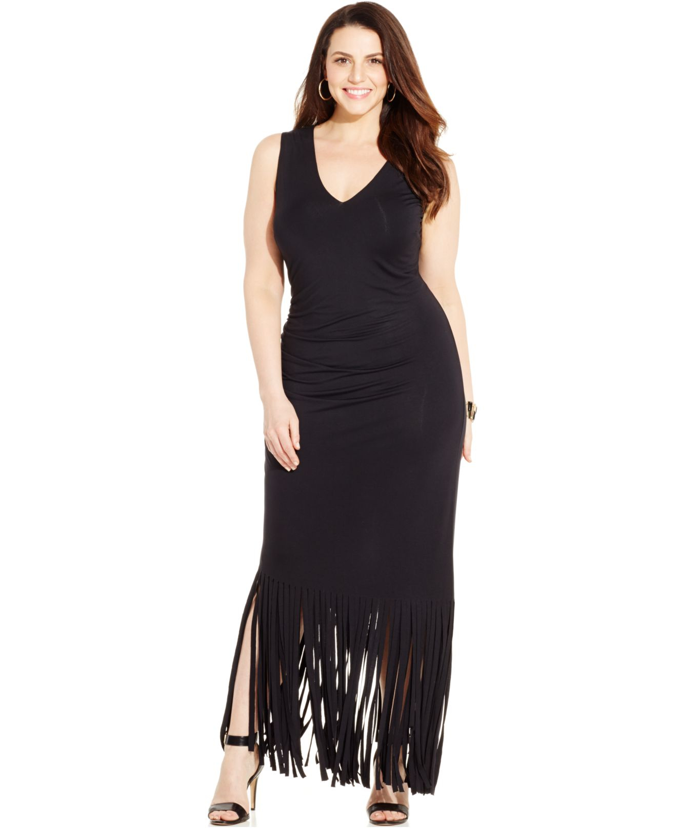 INC International Concepts Plus Size Fringed Maxi Dress in Black - Lyst