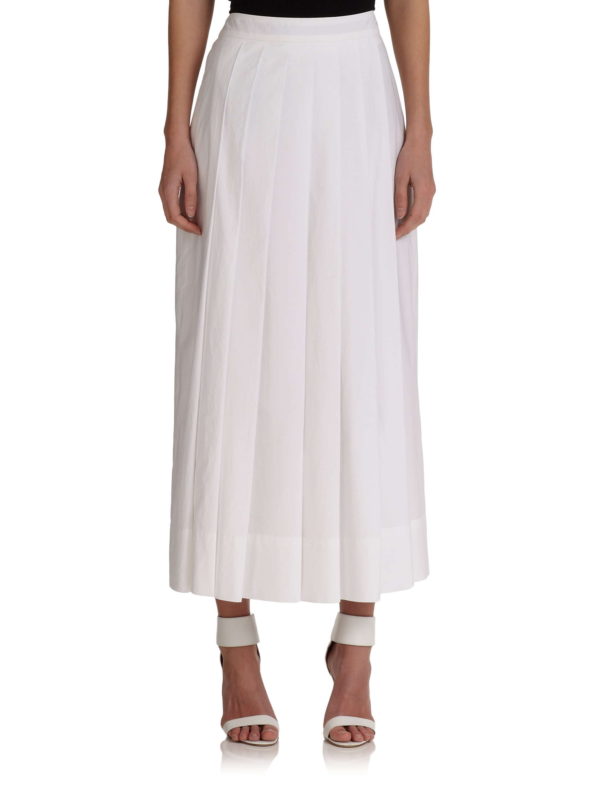 pauw pleated maxi skirt in white lyst