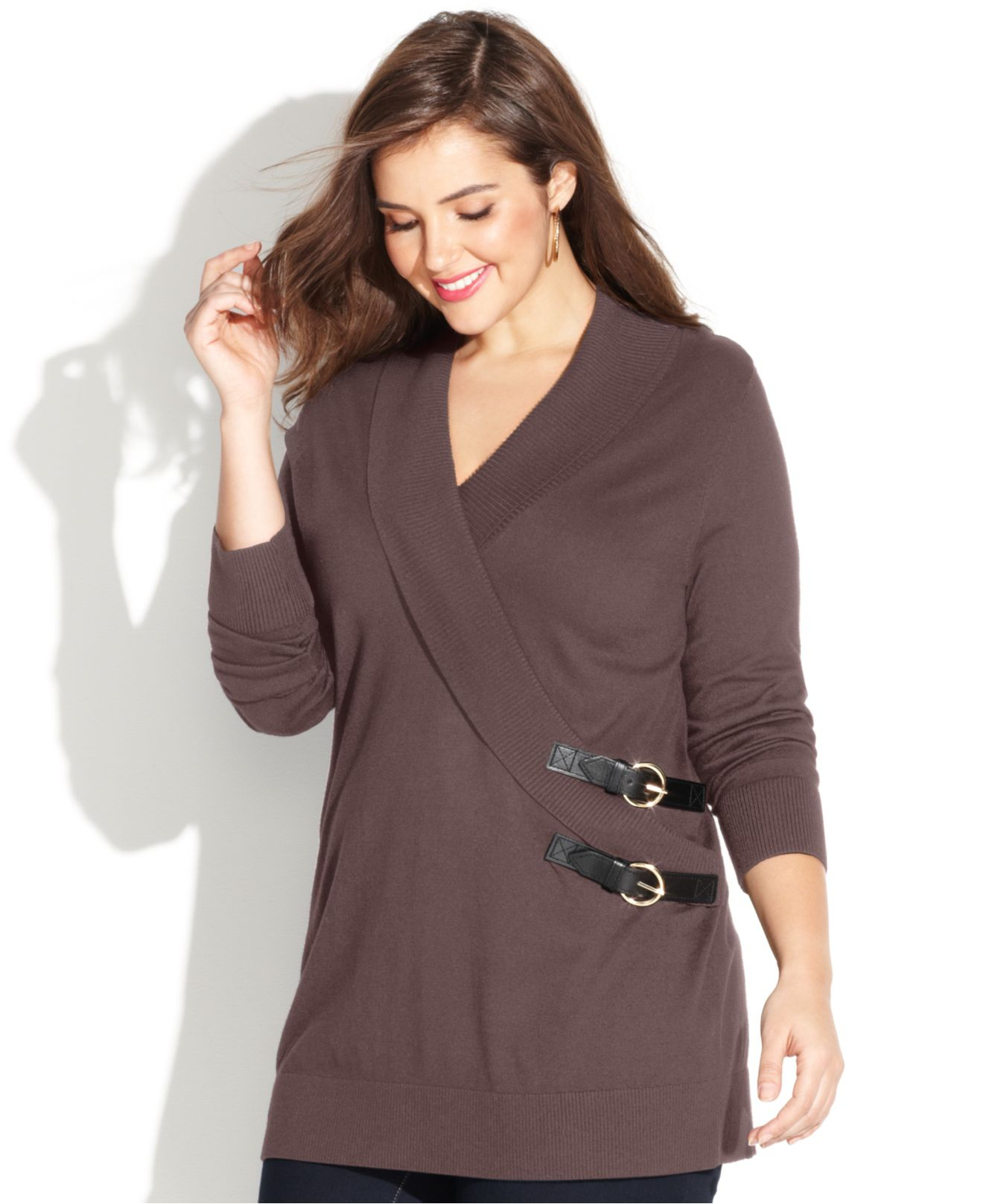 Inc international concepts Plus Size Shawl-Collar Buckle ...