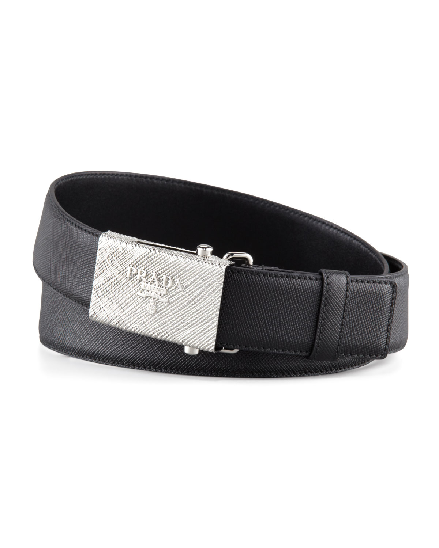 Prada Printed Buckle Saffiano Leather Belt Black In Black