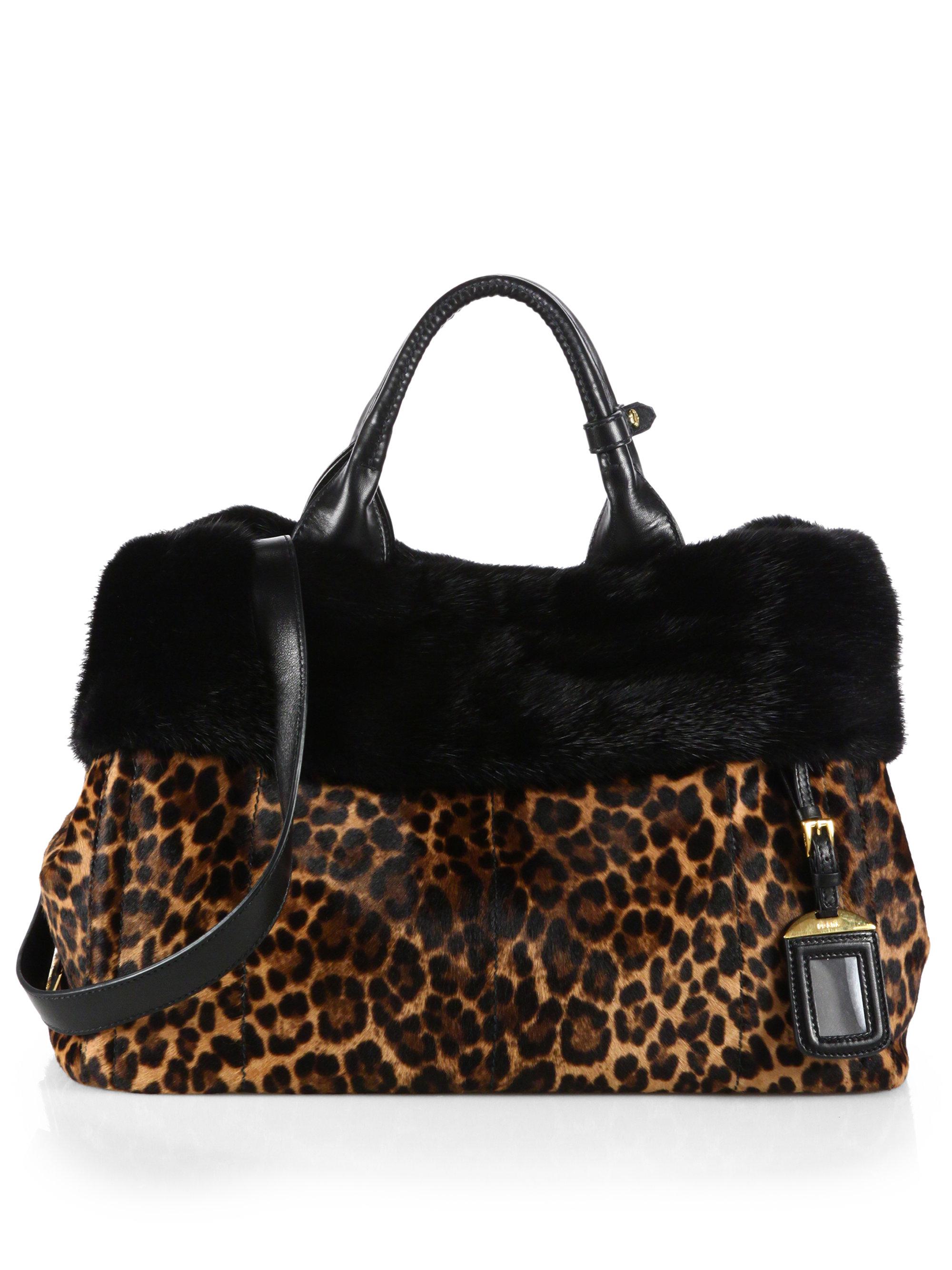 Prada Cavallino \u0026amp; Mink Fur Garden Bag in Animal (LEOPARD) | Lyst