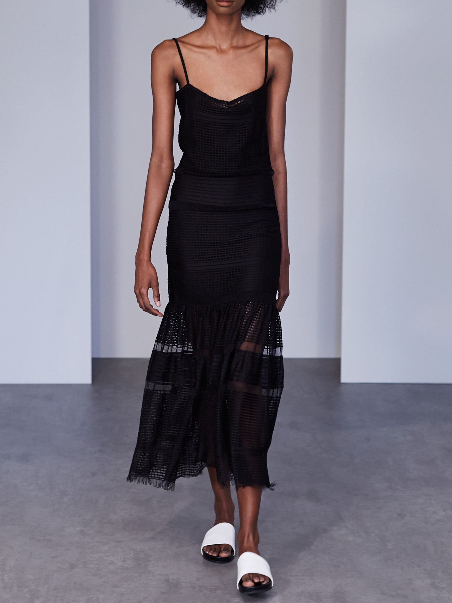 French Connection Fringe Fancy Strappy Maxi Dress In Black