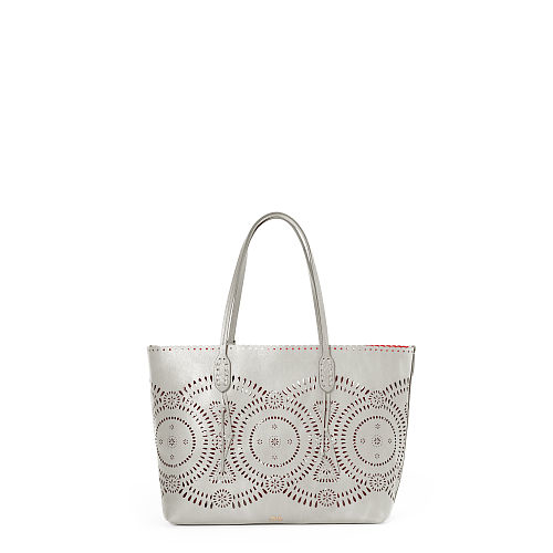 cf43b0b636 Lyst - Polo Ralph Lauren Laser-cut Leather Tote in Gray