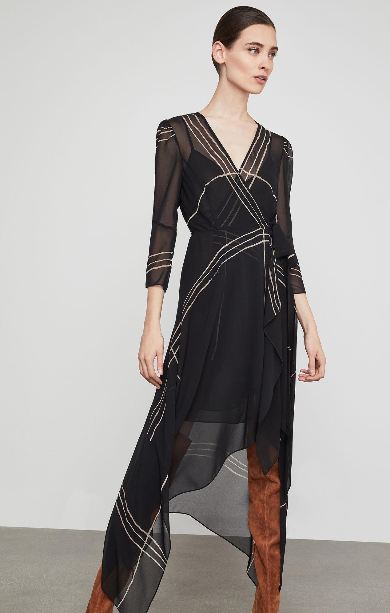 d047694d2f BCBGMAXAZRIA Bcbg Samantha Wrap-front Handkerchief Dress in Black - Lyst