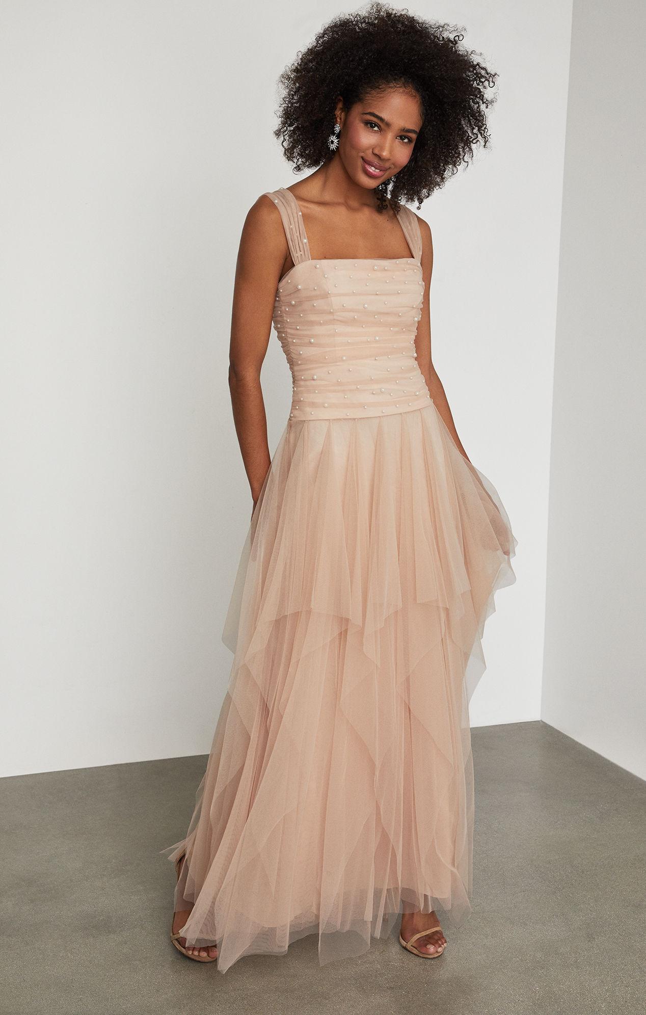 c3c28b10f9cc4 Lyst - BCBGMAXAZRIA Bcbg Faux Pearl Ruffle Gown