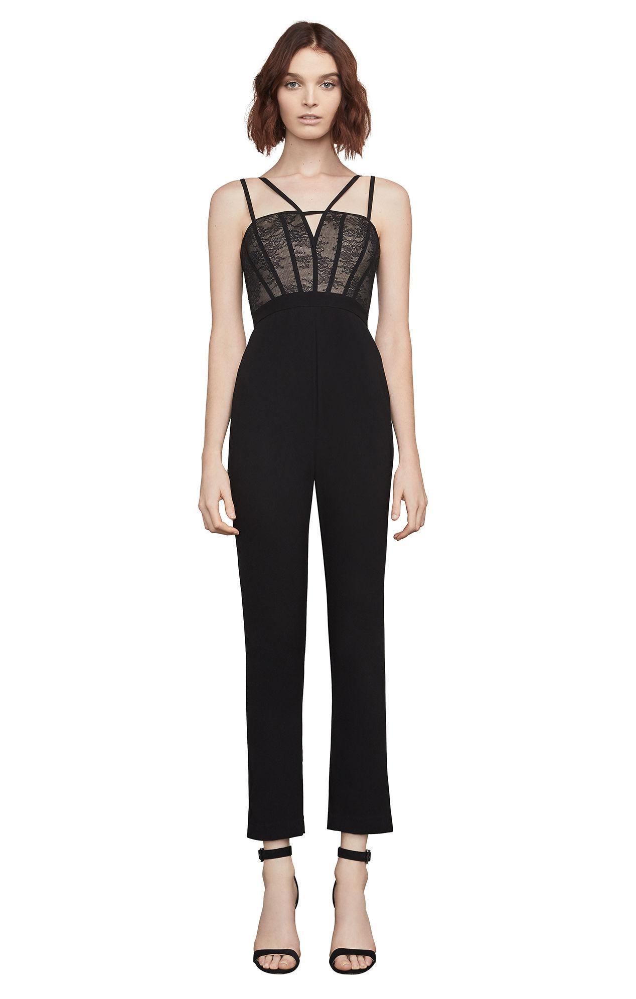 adea918276f Lyst - BCBGMAXAZRIA Bcbg Patrycia Lace-bodice Jumpsuit in Black