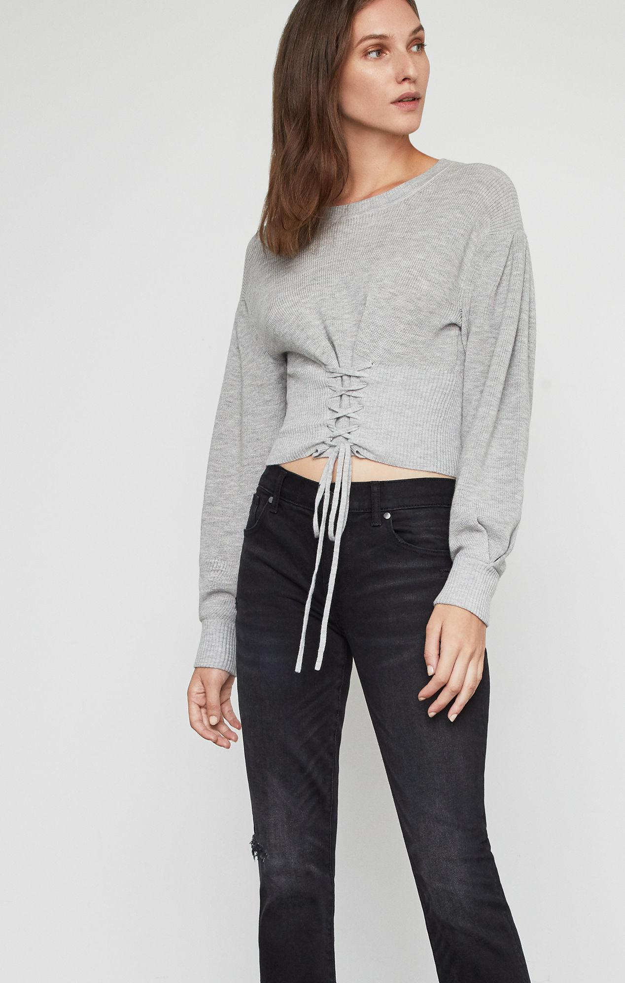 BCBGMAXAZRIA - Gray Bcbg Lace Up Crop Sweater - Lyst. View fullscreen b0458bcbd