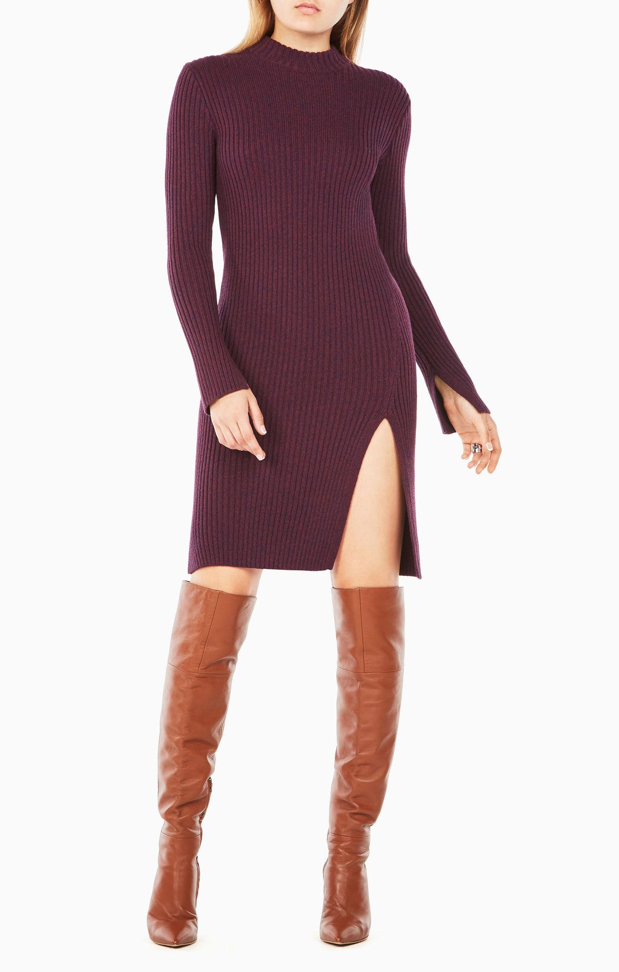 bcbgmaxazria gwynn tunic sweater in purple lyst