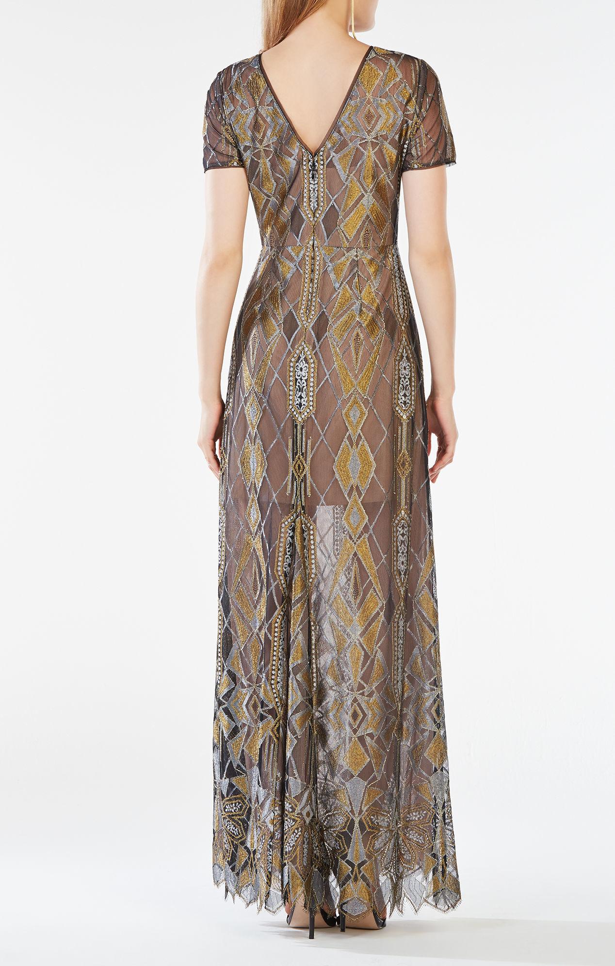 Bcbgmaxazria Taliah Metallic Geometric Lace Gown Lyst
