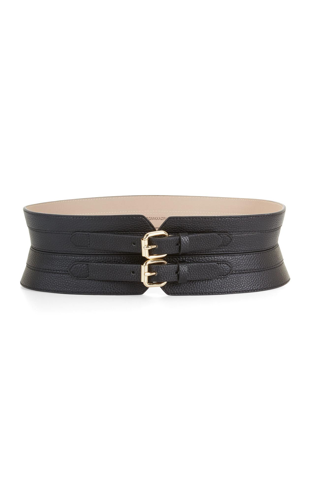 Bcbgmaxazria faux leather contour waist belt in black lyst for Define faux leather