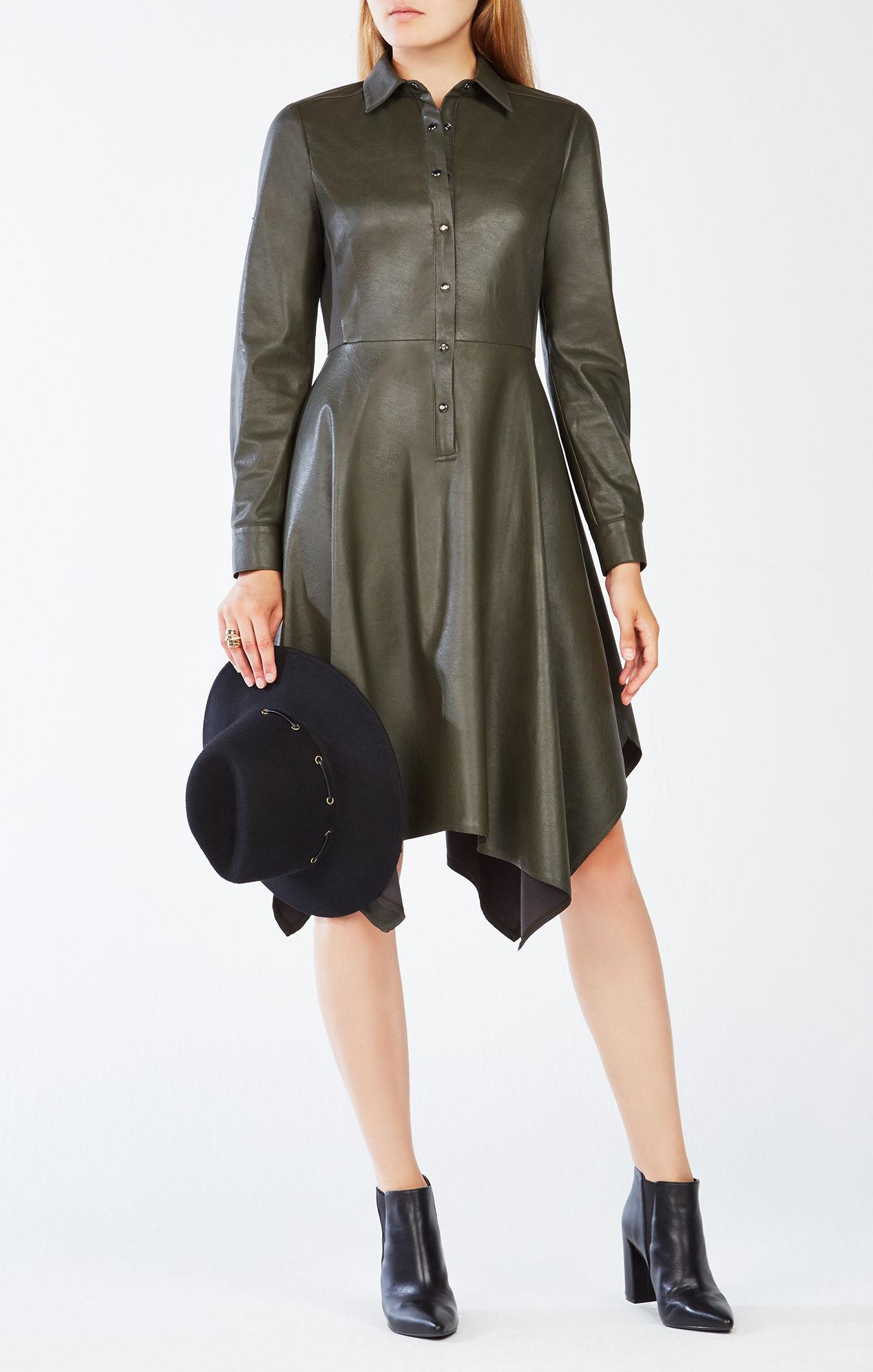 Lyst Bcbgmaxazria Beatryce Faux Leather Dress In Green