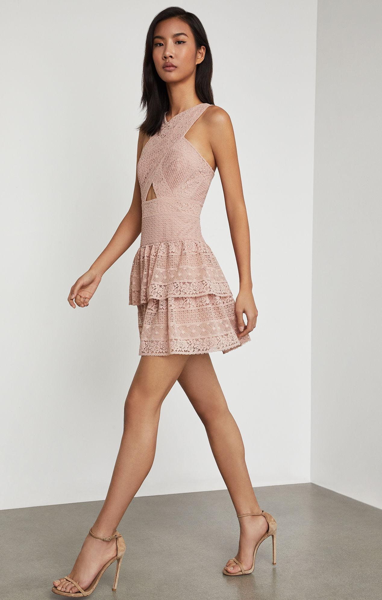 f0bc9923c68 BCBGMAXAZRIA Bcbg Alissa Ruffled Lace Dress in Pink - Lyst