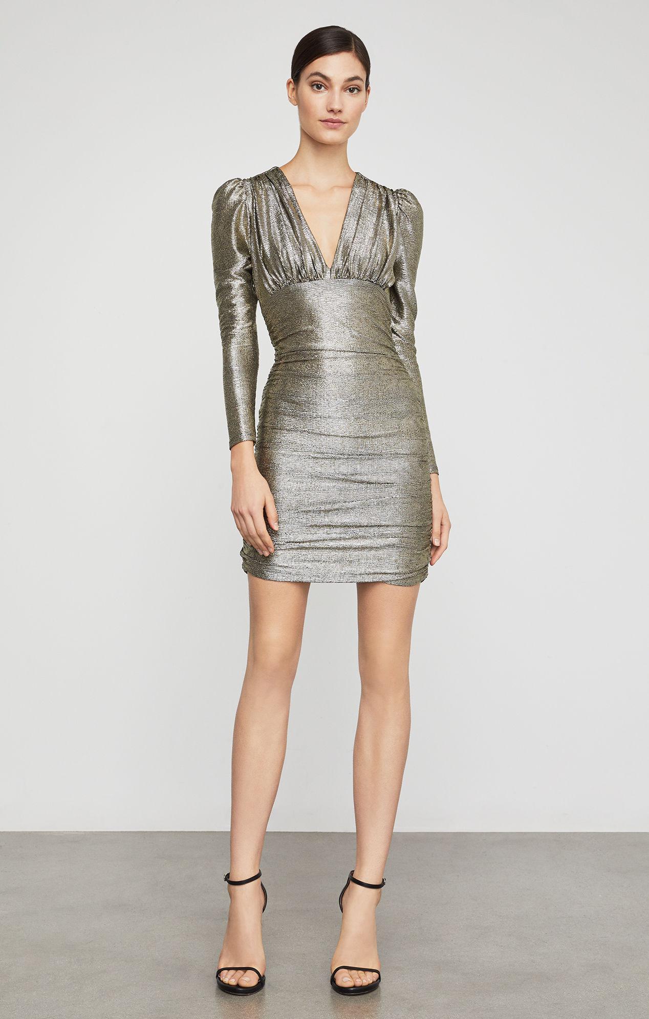 Bcbg metallic shirred bodycon dress