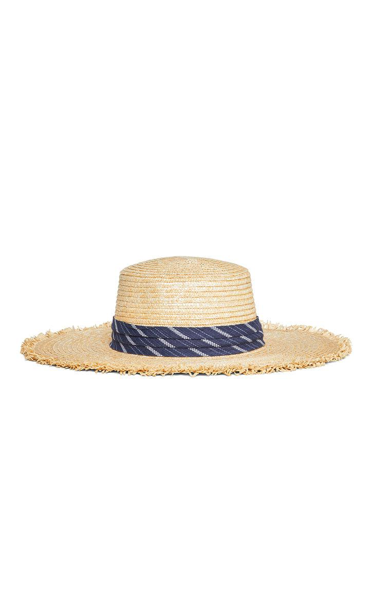 c6a520cb65e Lyst - Bcbgmaxazria Banded Straw Boater Hat in Natural