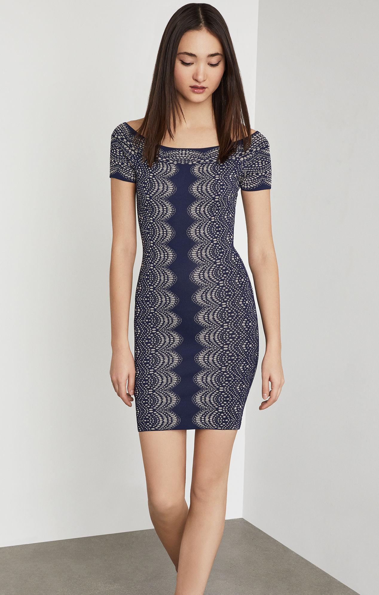 be166ade176 BCBGMAXAZRIA Bcbg Kisha Off-the-shoulder Knit Dress in Blue - Lyst