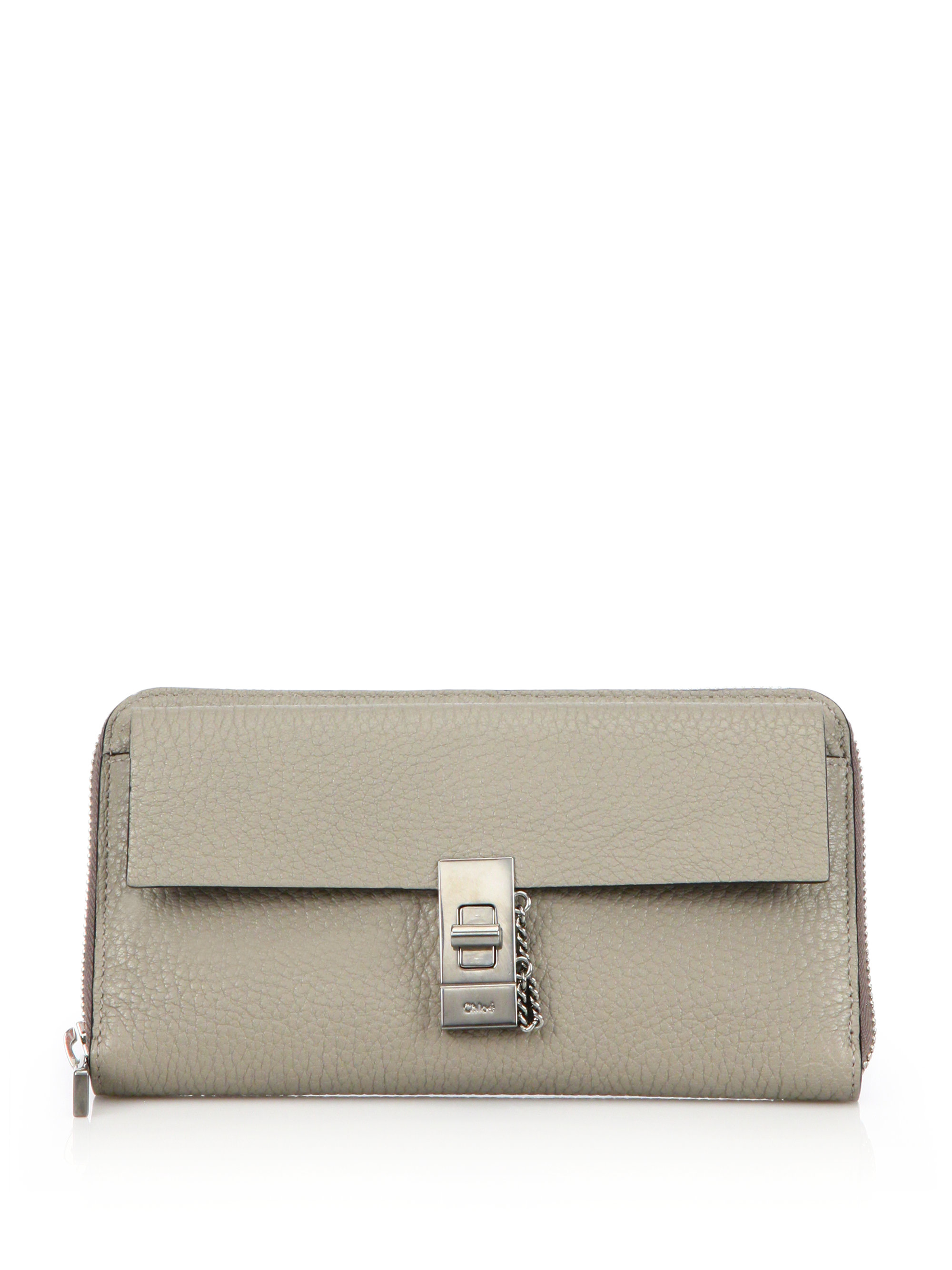 chloe saddle messenger bag - Chlo�� Drew Long Leather Zip Wallet in Gray (motty grey) | Lyst