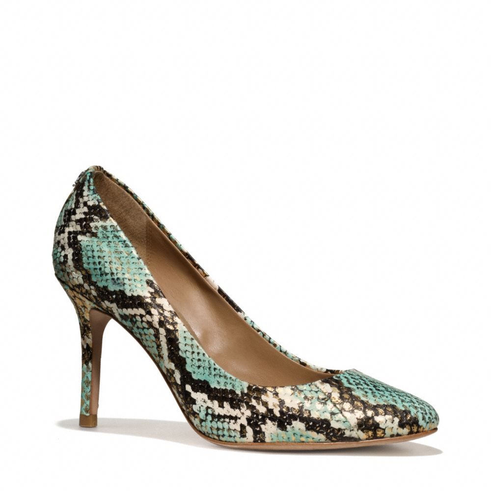 c96d81301047 Lyst - COACH Nala Snakeskin Heel in Green