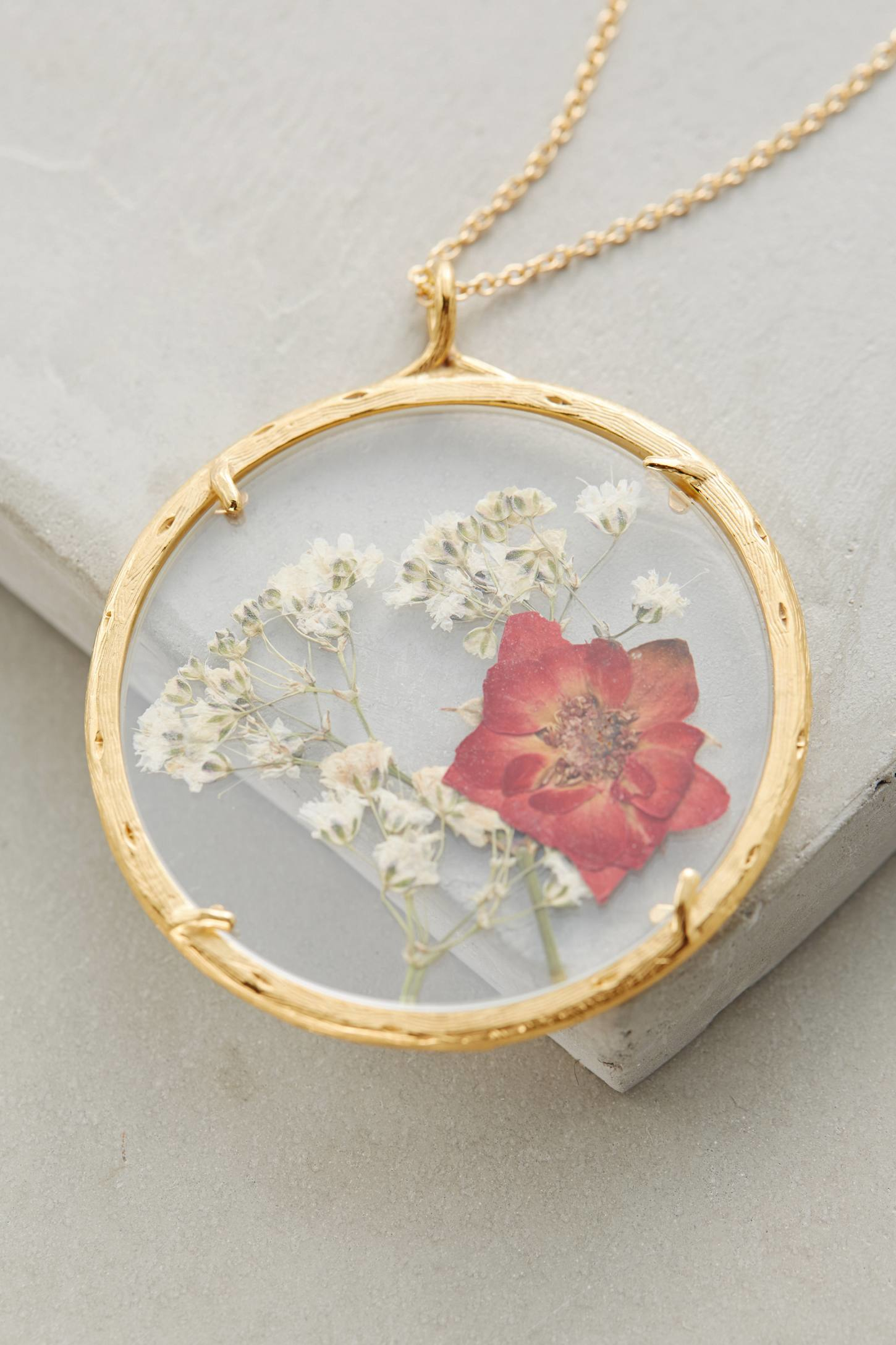 Lyst catherine weitzman pressed flower pendant necklace in metallic gallery mozeypictures Images