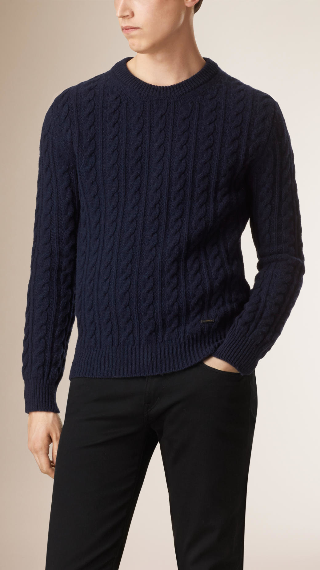 Burberry Cable Knit Wool Cashmere Sweater Navy in Blue for Men | Lyst