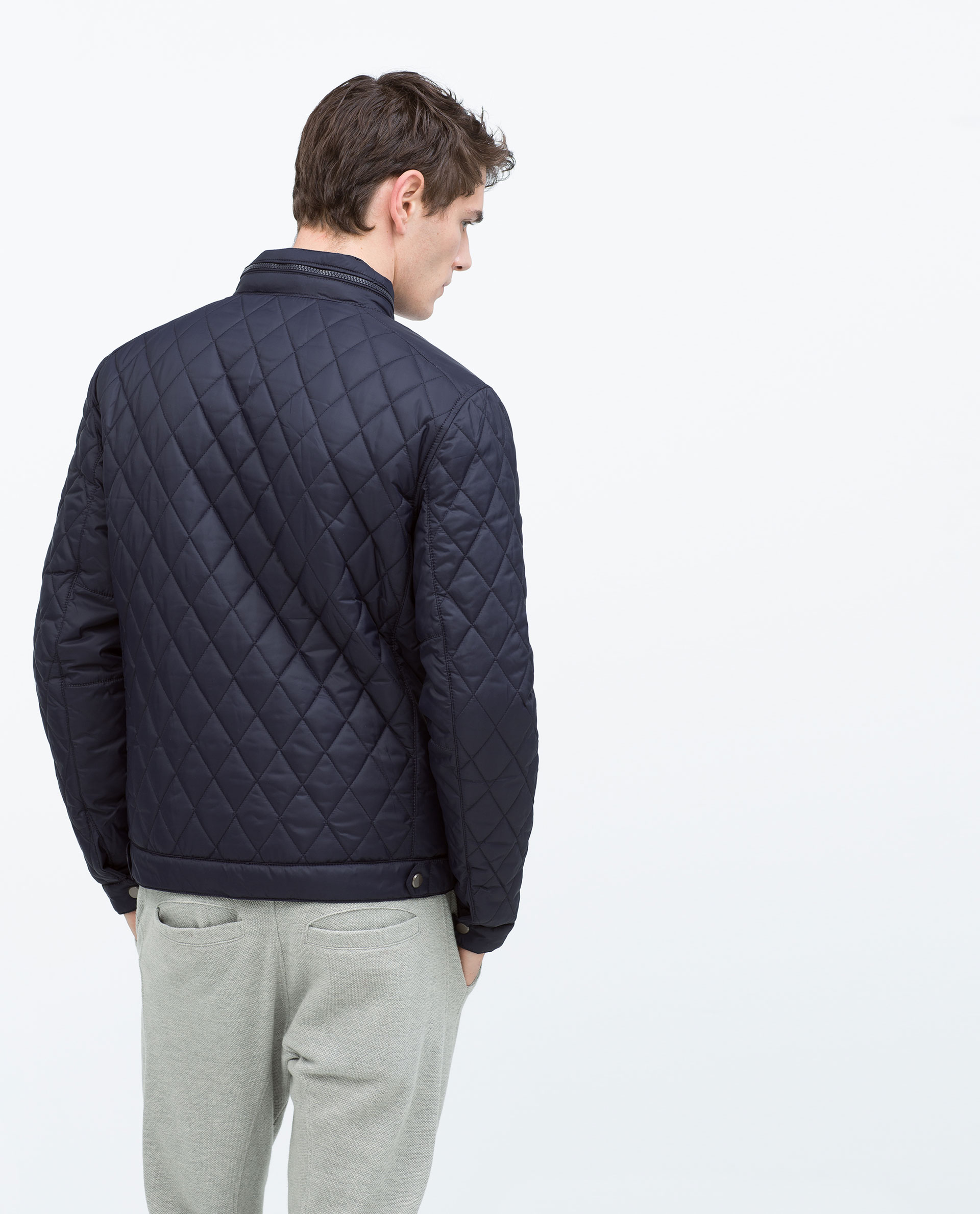 Zara Quilted Jacket in Blue for Men | Lyst