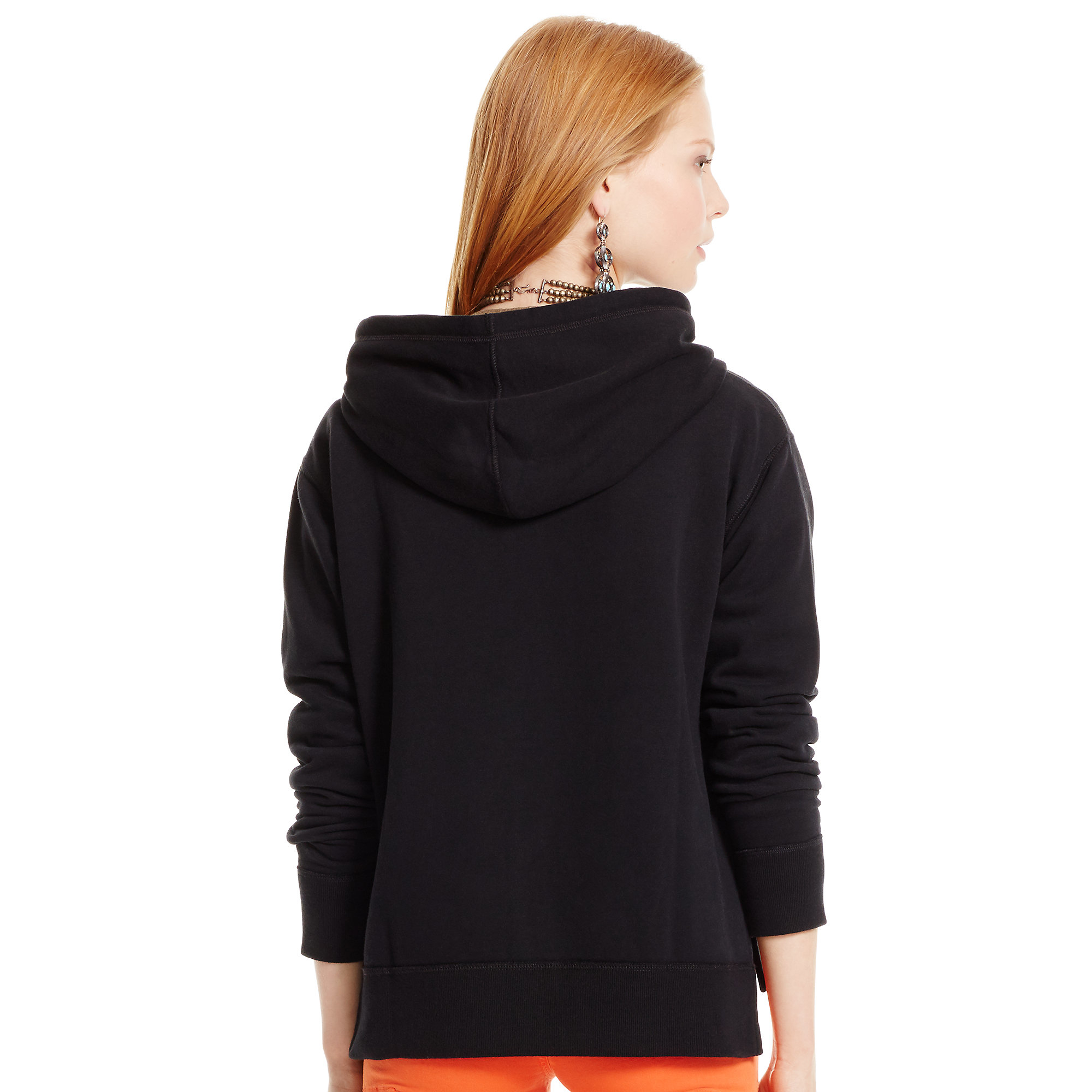 polo ralph lauren oversized fleece hoodie in black lyst. Black Bedroom Furniture Sets. Home Design Ideas