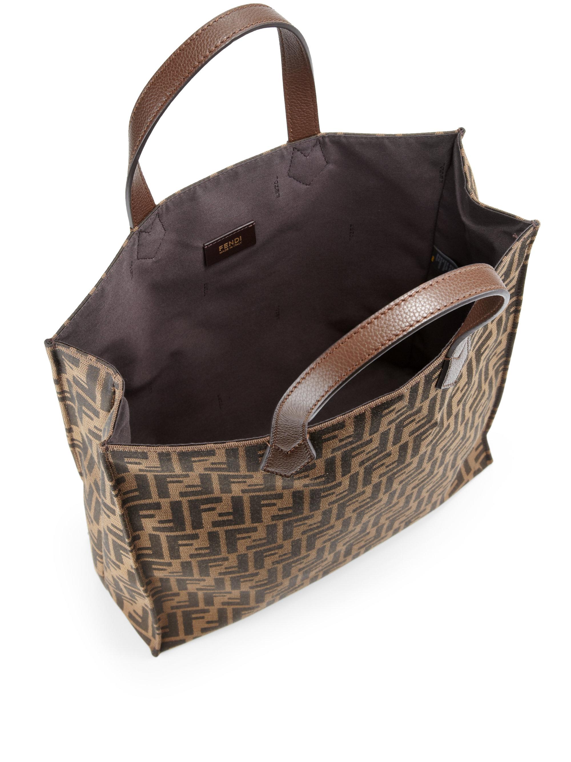 Fendi Signature Monogram Shopping Bag In Brown Lyst