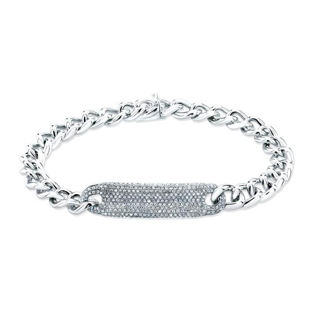 Lyst Anne Sisteron 14kt White Gold Diamond Luxe Id Bracelet in