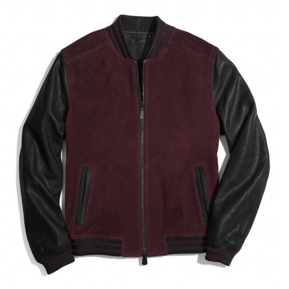 Coach Suede Baseball Jacket in Red for Men | Lyst