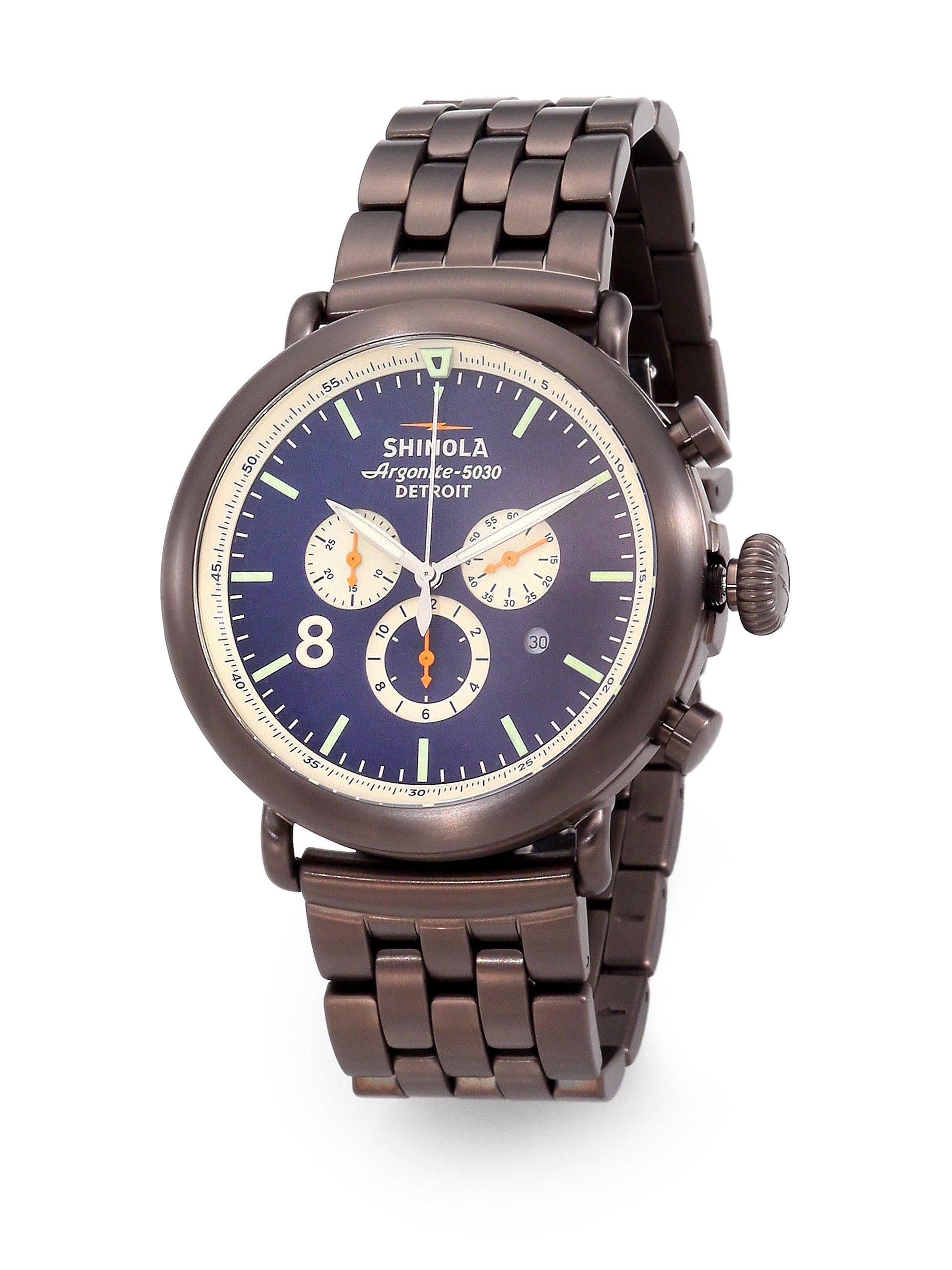 Lyst shinola runwell contrast chronograph watch in gray for men for Shinola watches