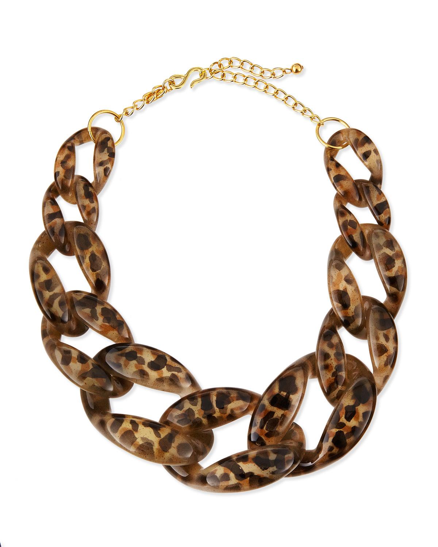 kenneth leopardprint enamel link necklace in