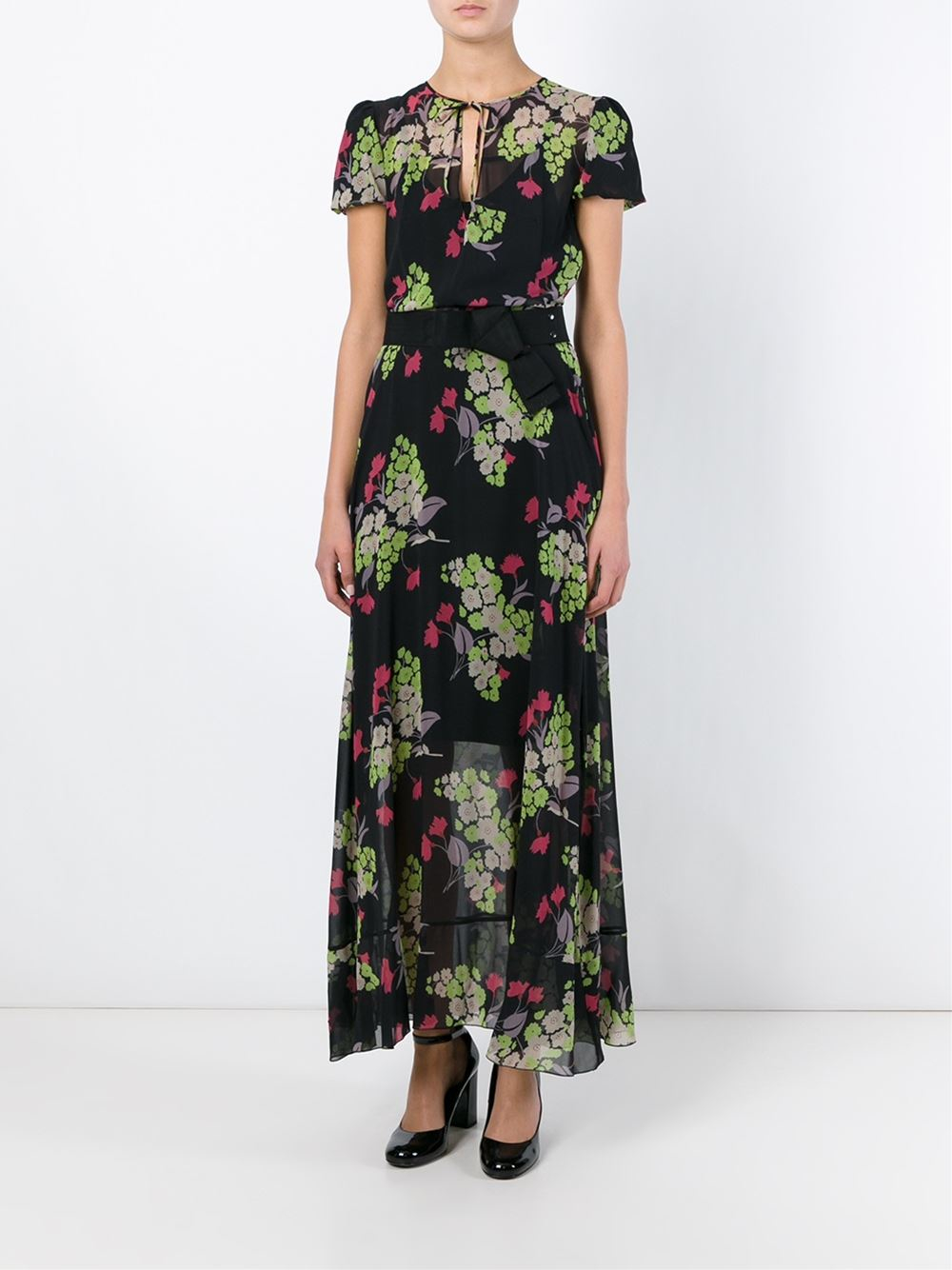 Lyst Red Valentino Floral Print Sheer Long Dress In Black