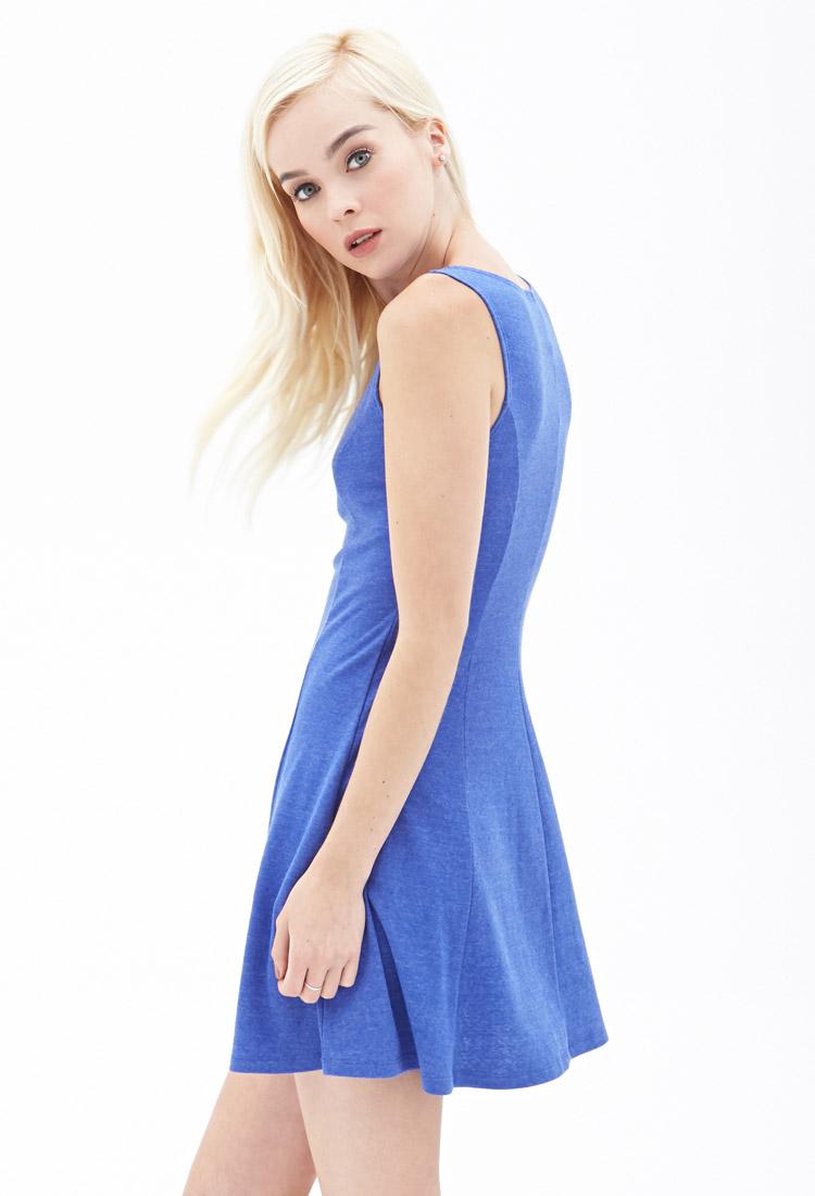 Forever 21 Heathered Skater Dress in Blue | Lyst