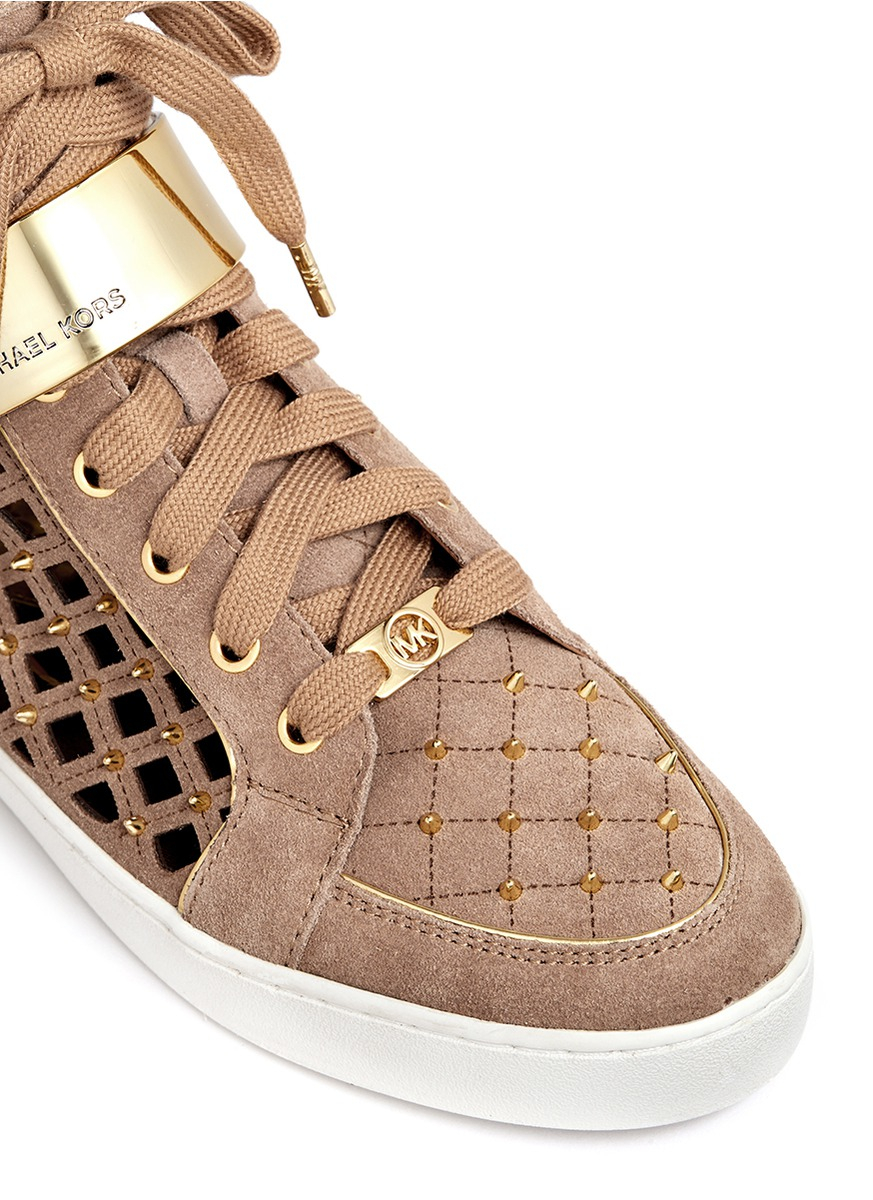 Lyst Michael Kors Keaton Studded And Perforated Suede