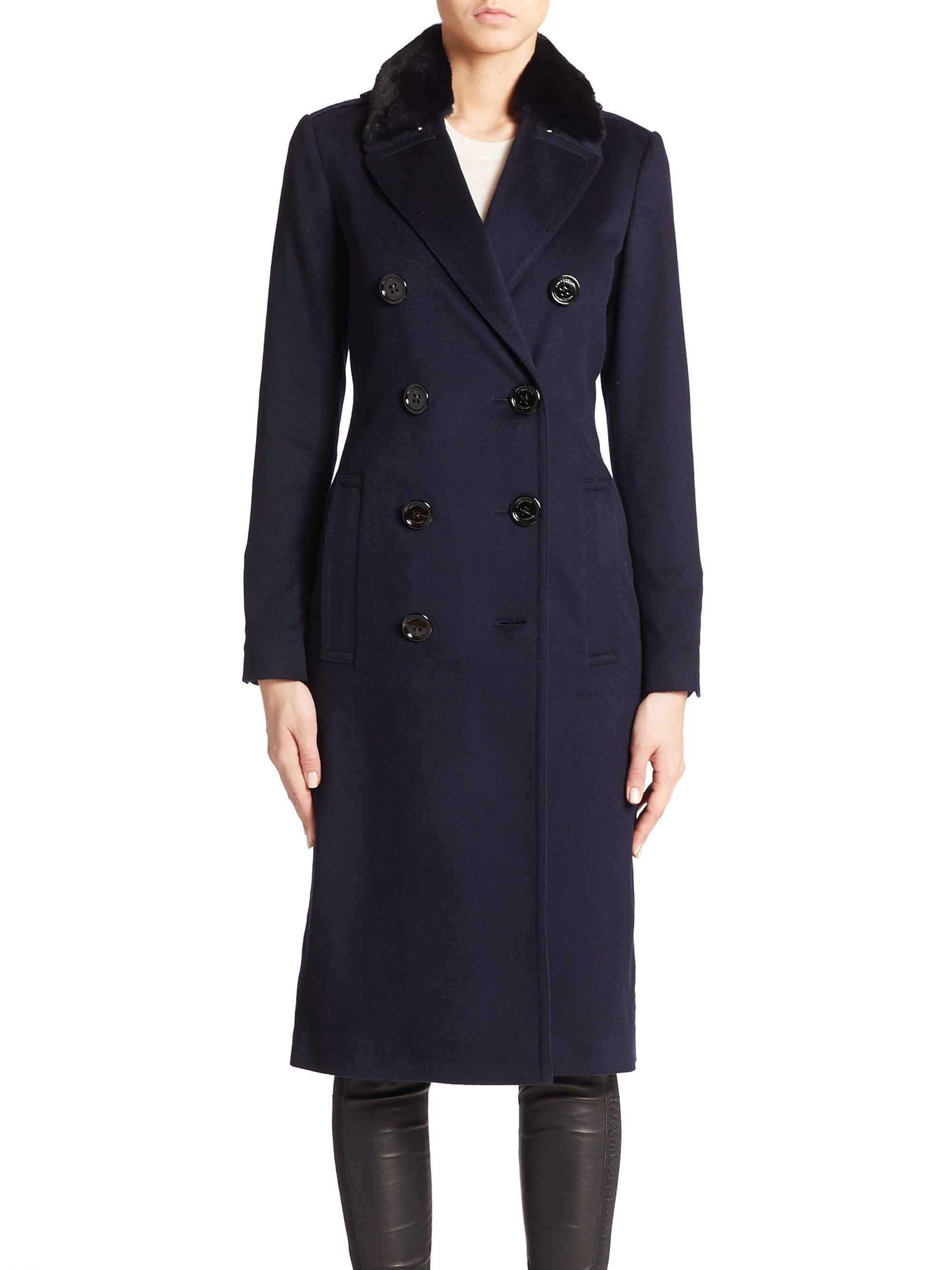 Burberry Newford Fur-collar Cashmere Coat in Blue | Lyst