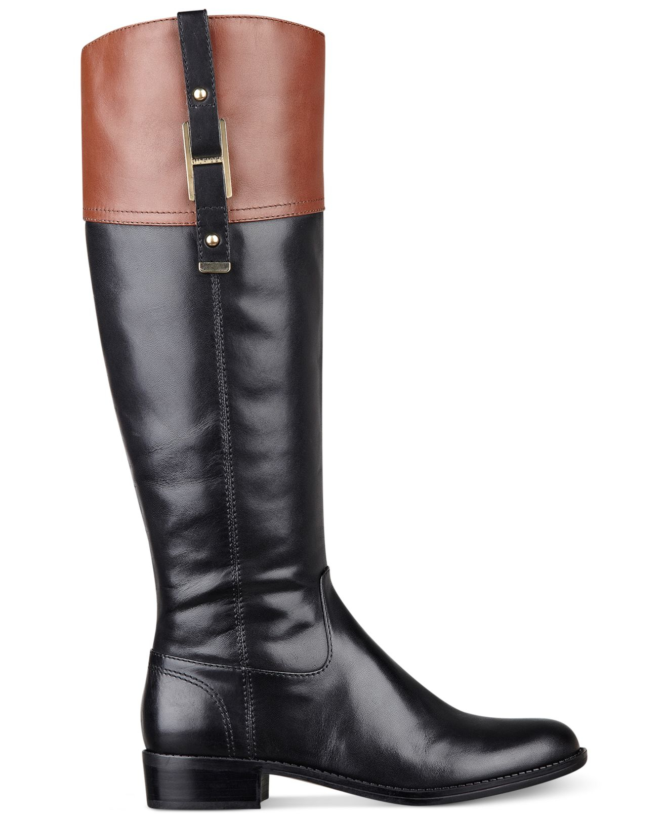 Lyst Tommy Hilfiger Women S Gibsy Tall Riding Boots In Black
