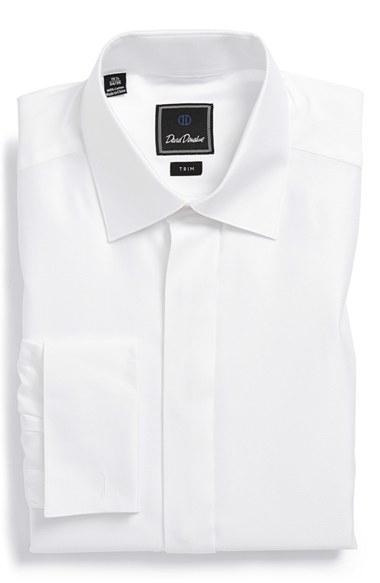 david donahue trim fit french cuff tuxedo shirt in white