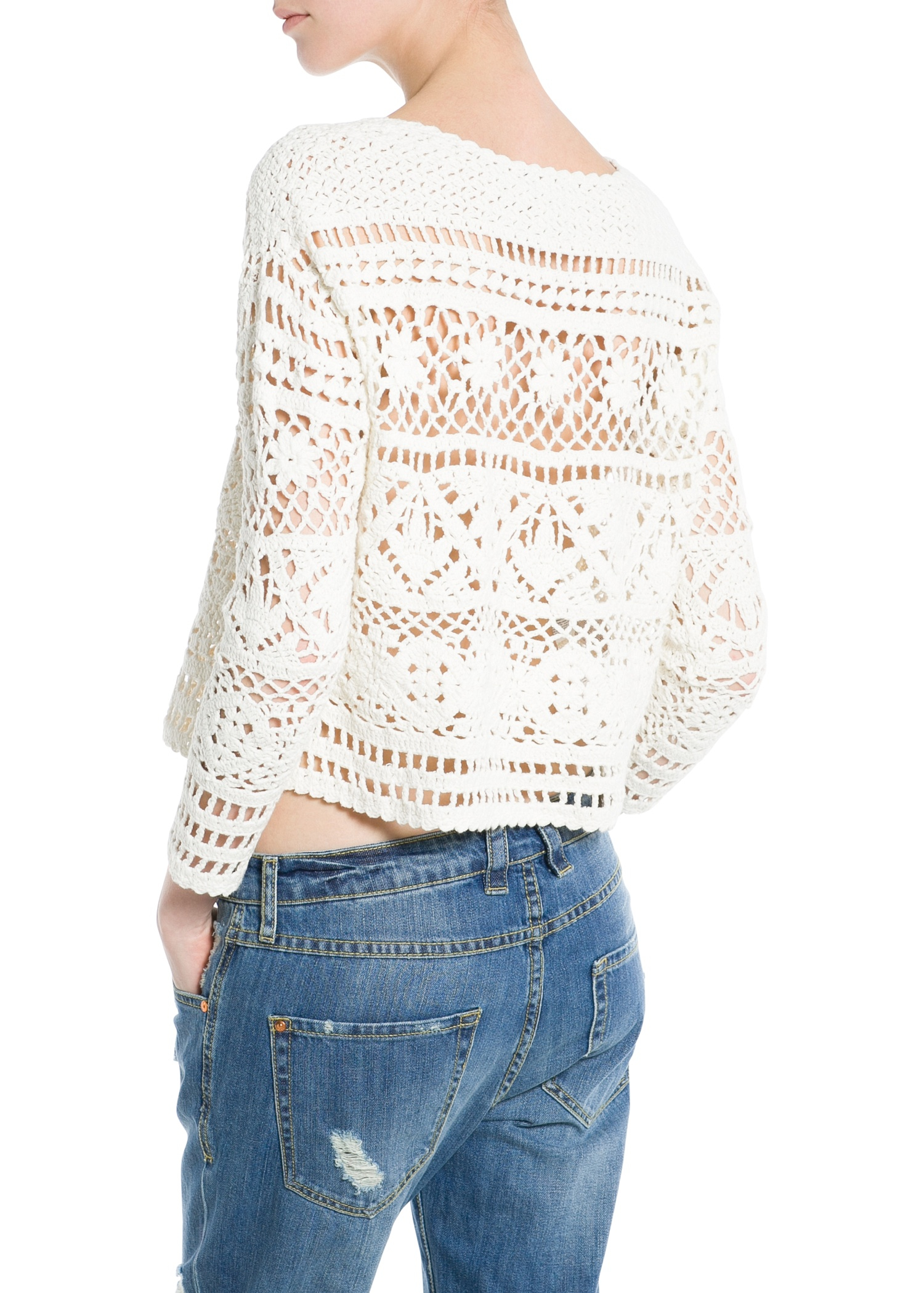 Mango Crochet Cropped Sweater in White | Lyst
