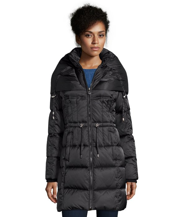 Betsey johnson Black Box Quilted Drawstring Waist Hooded Jacket in ...
