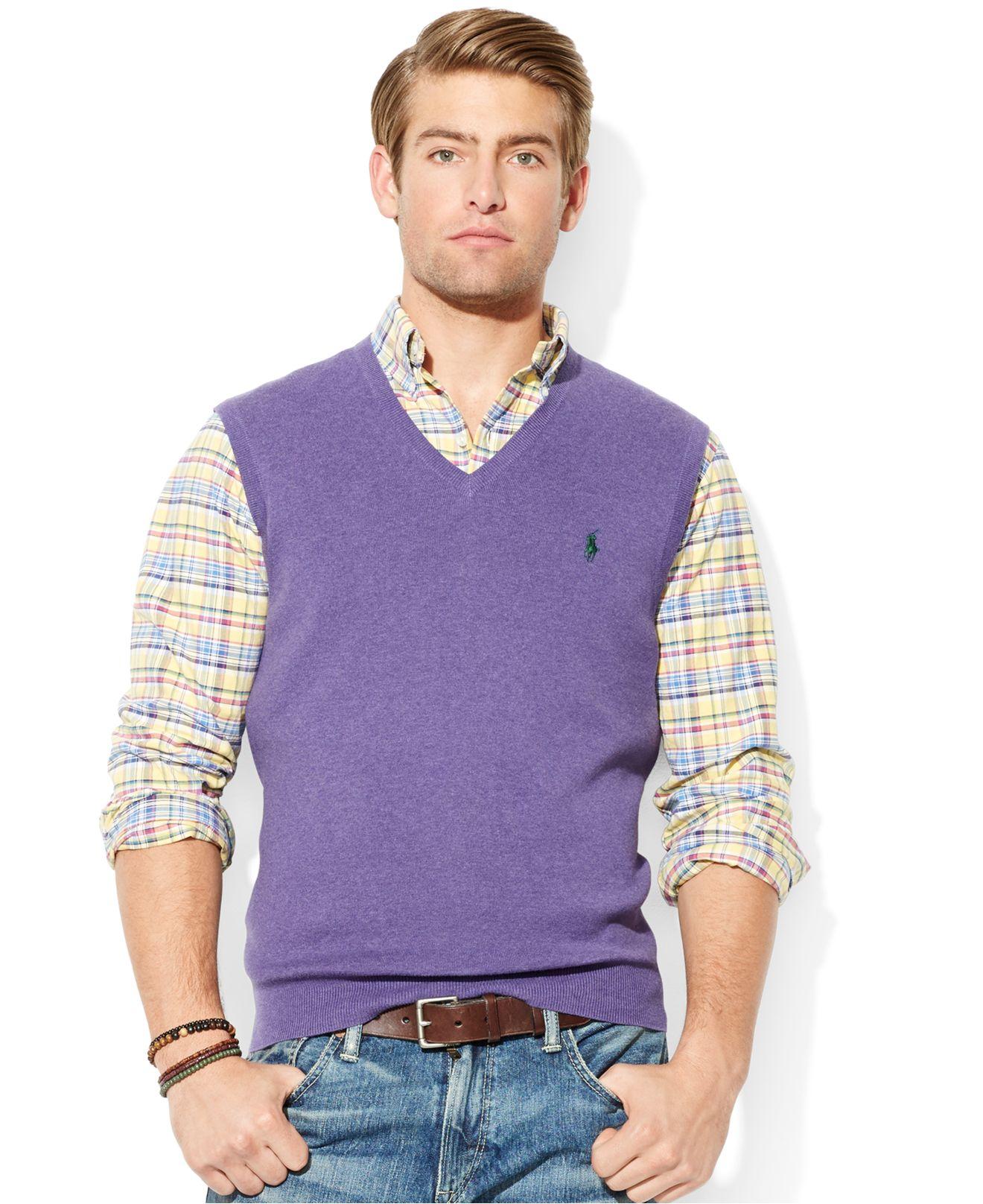 Ralph Lauren Polo Mens Pima Cotton V-Neck Sweater Vest