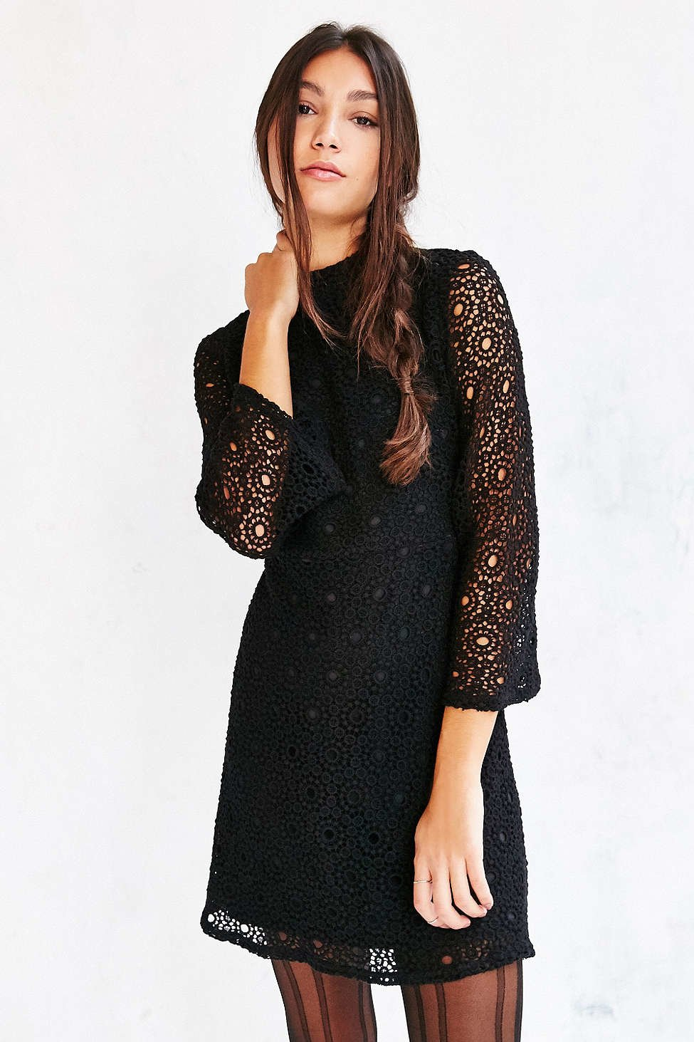 e0c534eabd Lyst - Cooperative Lace Mock-neck Dress in Black
