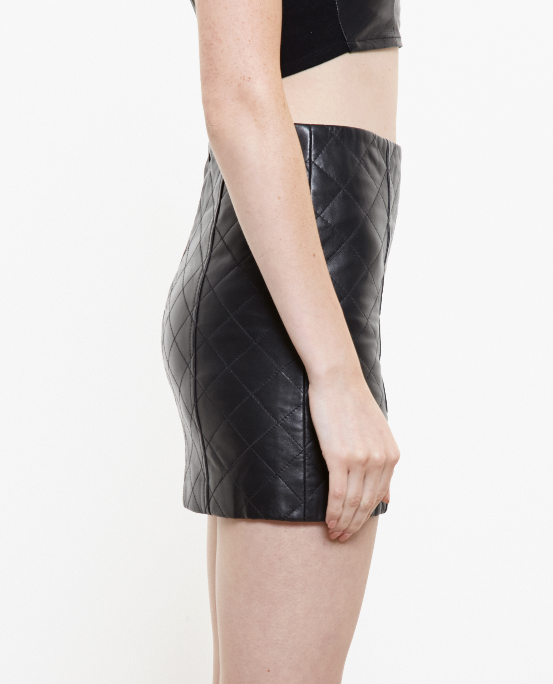 Lyst Love Leather Quilted Leather Mini Skirt In Black