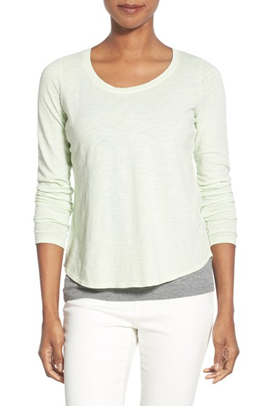 Lyst eileen fisher slub organic cotton u neck tee in green for Eileen fisher organic cotton t shirt