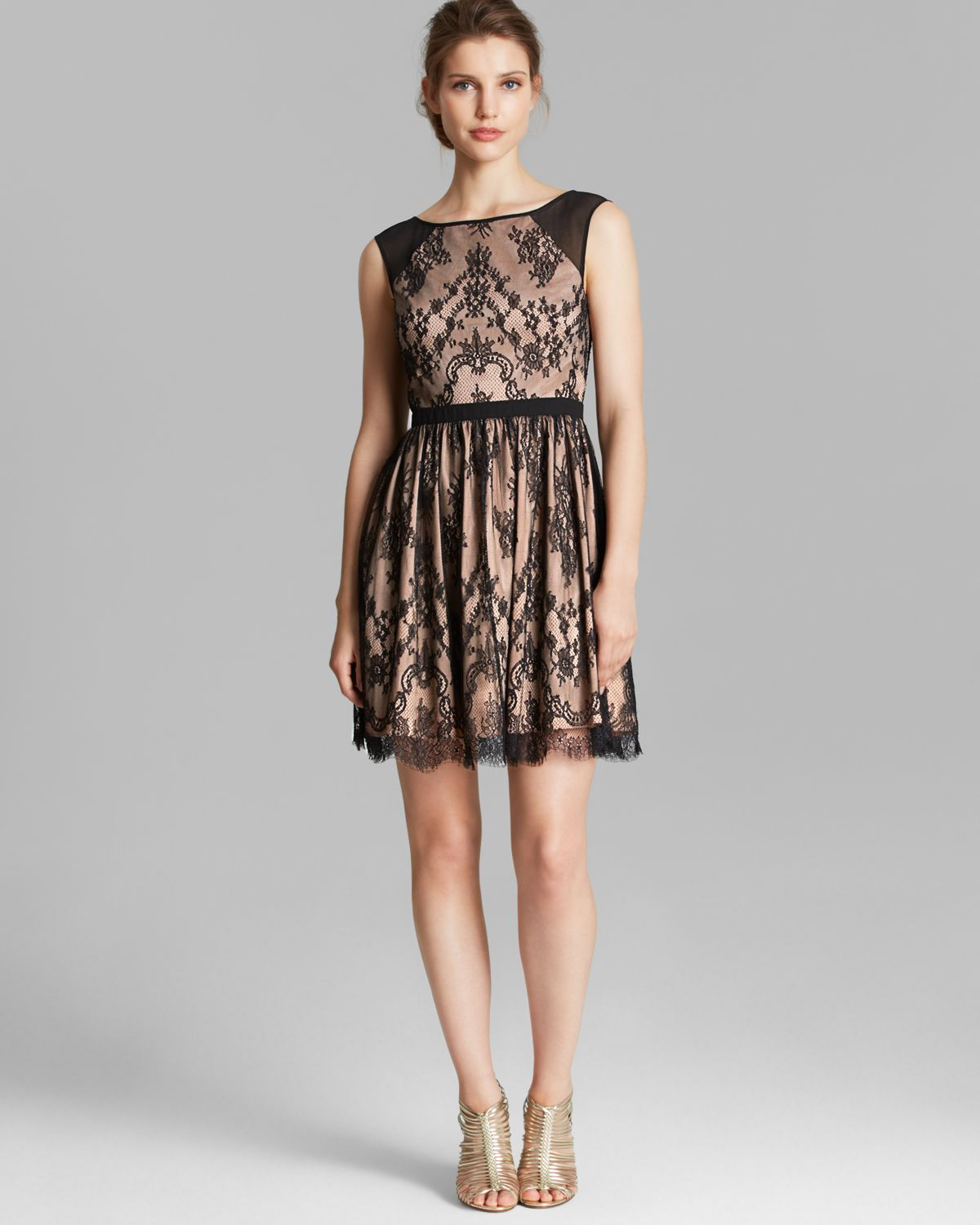 Aidan Mattox Dress Sleeveless Lace Fit And Flare In Black