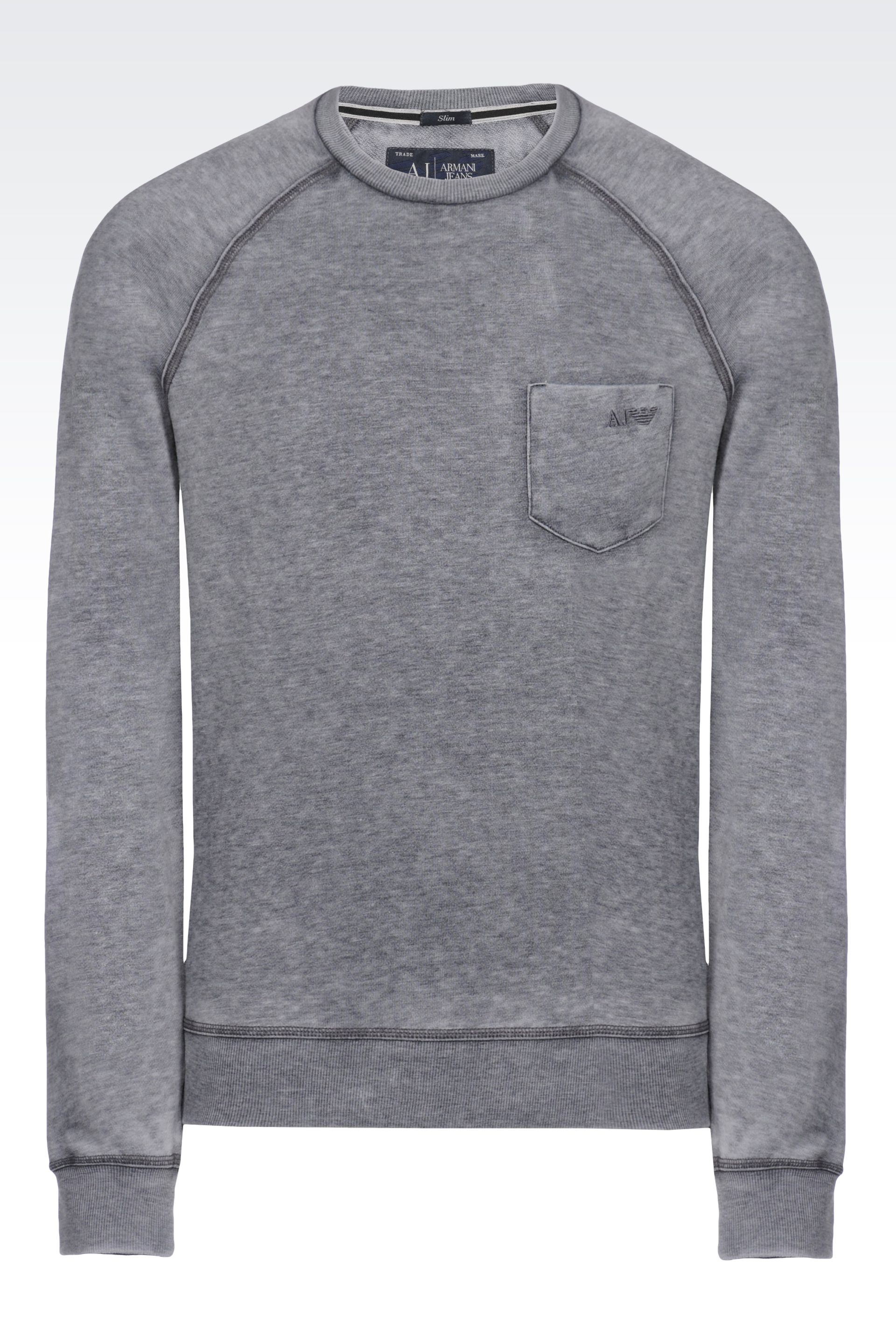 Armani jeans Crew Neck Sweatshirt with Pocket in Gray for Men | Lyst