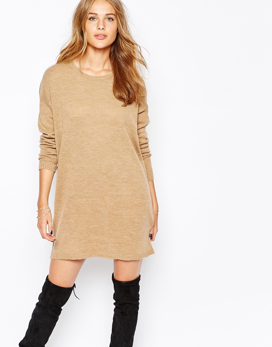 a0791c3f8d Vila Long Sleeve Knitted Sweater Dress in Natural - Lyst