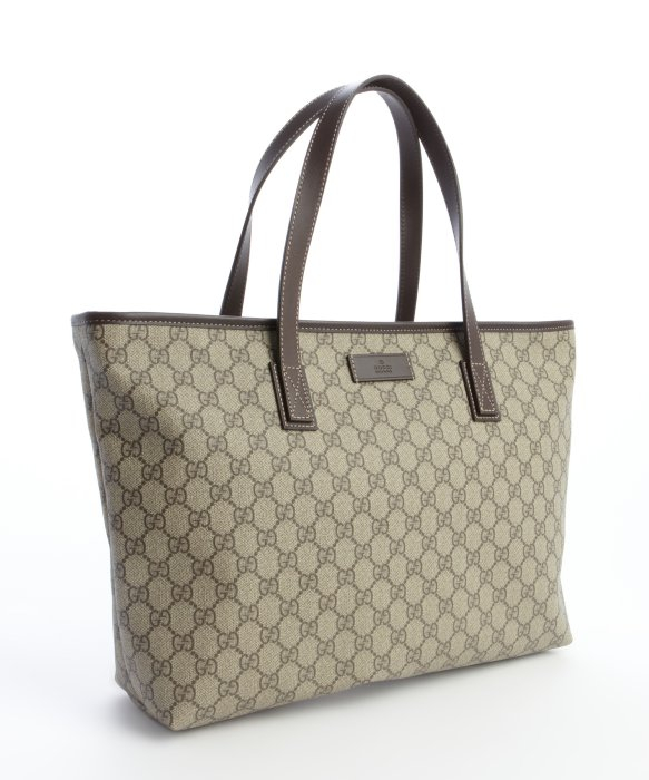 Gucci Brown And Beige Gg Plus Canvas Large Shopper Tote in Brown ...