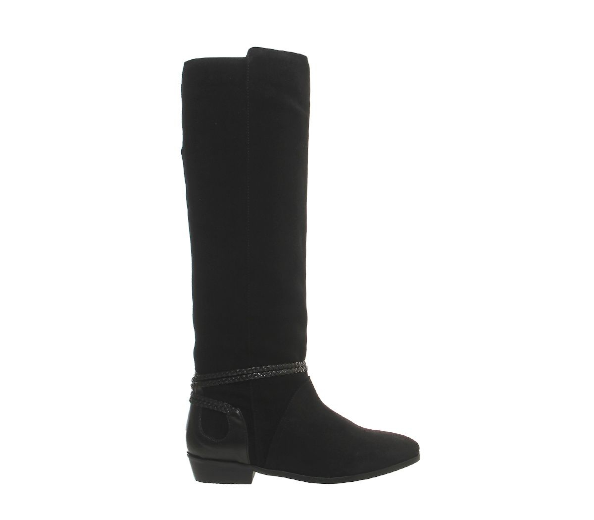 office escape slouch knee boots in black black suede lyst