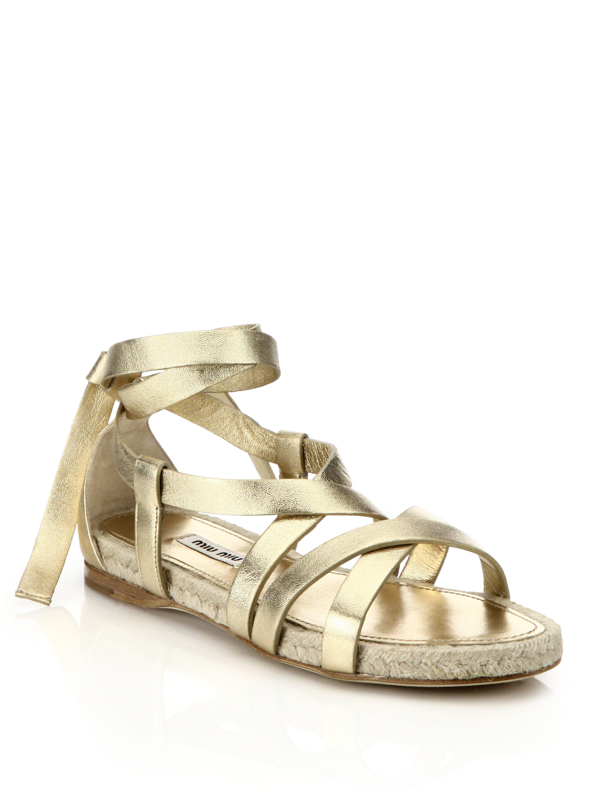 021fb76d1ce Lyst - Miu Miu Metallic Leather Ankle-tie Espadrille Sandals in Metallic
